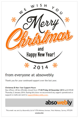 Absowebly Christmas e-card